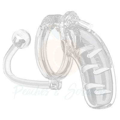 Man Cage 11 Male 4.5 Inch Clear Chastity Cage With Anal Butt Plug - Necronomicox