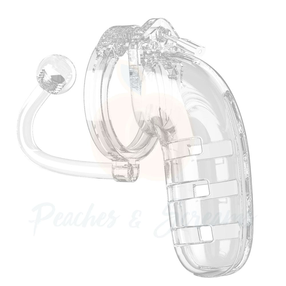 Man Cage 12 Male 5.5 Inch Clear Chastity Cage With Anal Butt Plug - Necronomicox