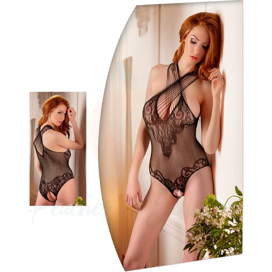 Mandy Mystery Crotchless Black Lace Body Suit - Necronomicox