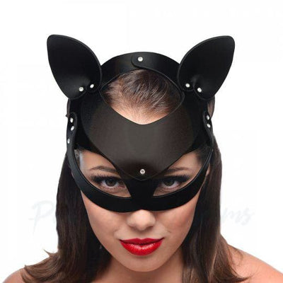 Master Series Bad Kitten Bondage Leather Cat Mask - Necronomicox