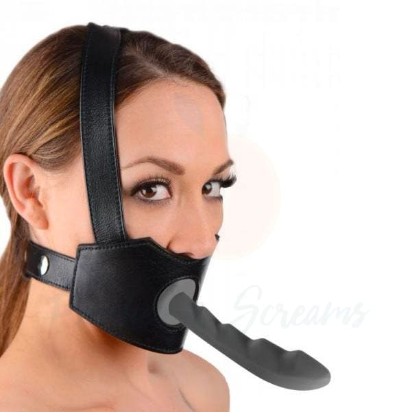 Master Series Strap-On Dildo Face Mouth Gag Harness - 🍑 Peaches and Screams