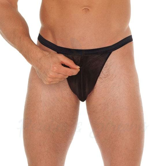 Mens Sexy Black G-String Thong with Zipper Pouch - Peaches and Screams