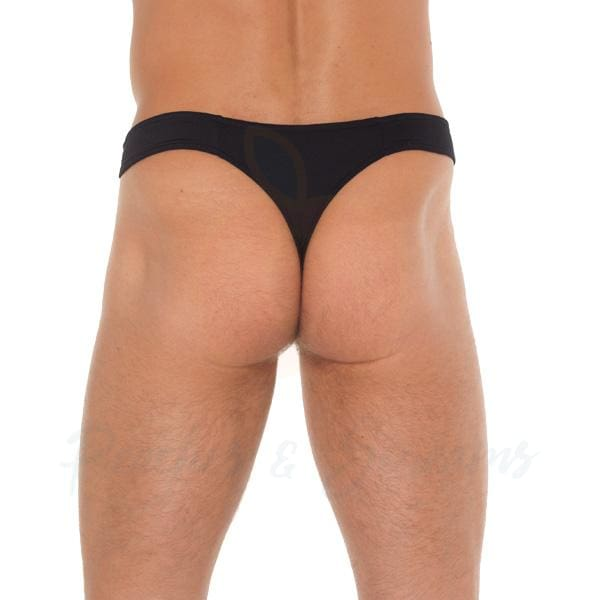 Mens Sexy Black G-String with Pouch and Zipper - Peaches & Screams