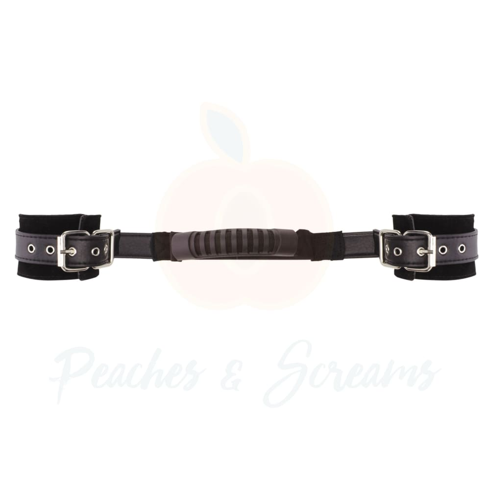 Ouch Adjustable Black Bondage Leather Sex Handcuffs - Necronomicox