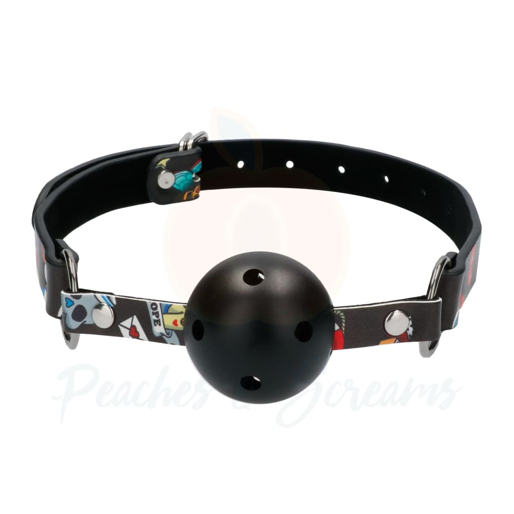 Ouch Breathable Bondage Ball Gag With Printed Leather Straps - 🍑 Peaches and Screams