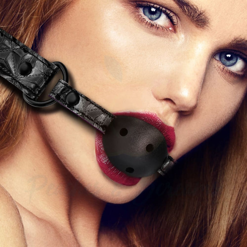 Ouch Breathable Luxury Black Bondage Mouth Ball Gag - Peaches and Screams