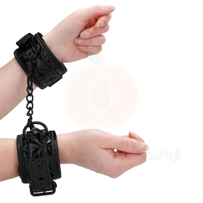 Ouch Luxury Black Bondage Sex Hand Cuffs with Adjustable Straps - Peaches and Screams