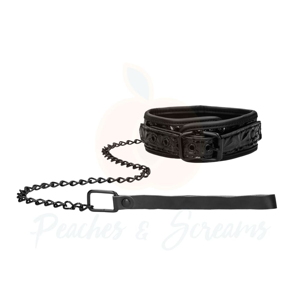 Ouch Luxury Faux Leather Bondage Collar With Leash - Necronomicox