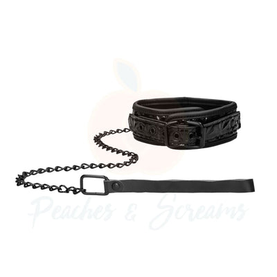 Ouch Luxury Faux Leather Bondage Collar With Leash - Peaches and Screams