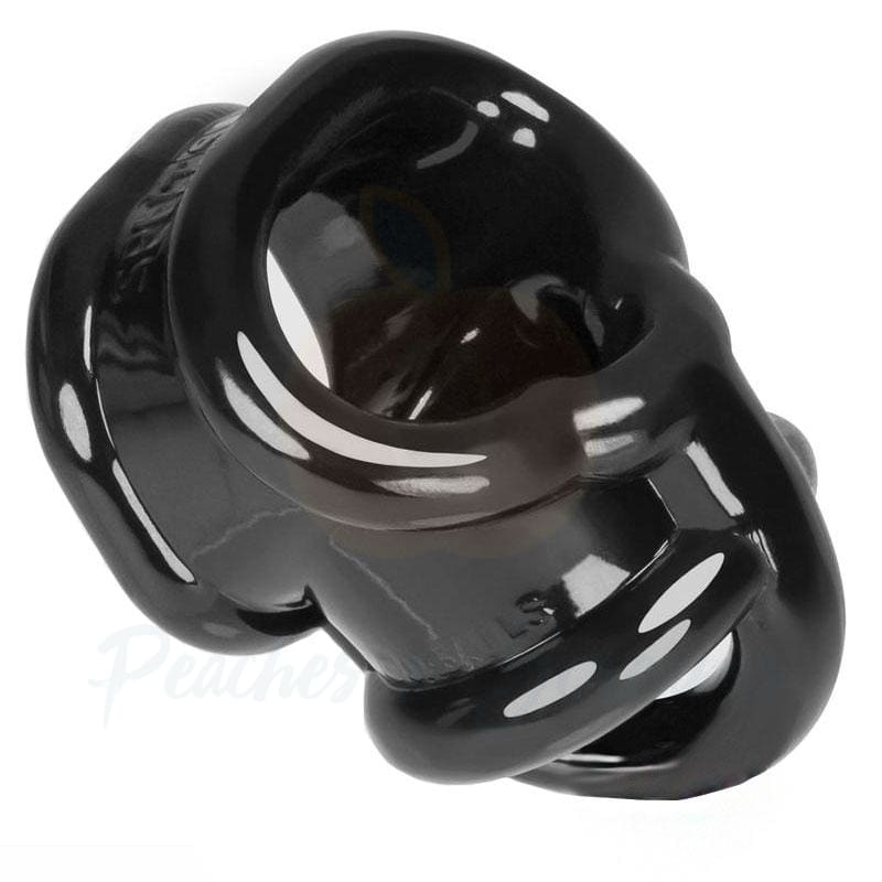 Oxballs Ballsling Black Stretchy Cock Ring with Ball Splitter - Peaches and Screams