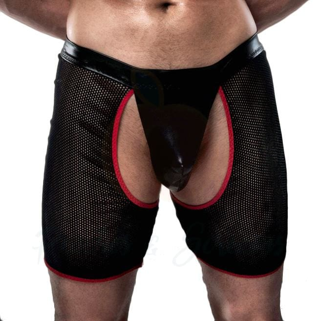 Passion Black Boxer Pouch with Crotch Cut-Outs and G-String Back - Necronomicox