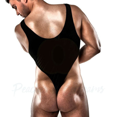 Passion Black G-String Body Playsuit for Men - Peaches and Screams
