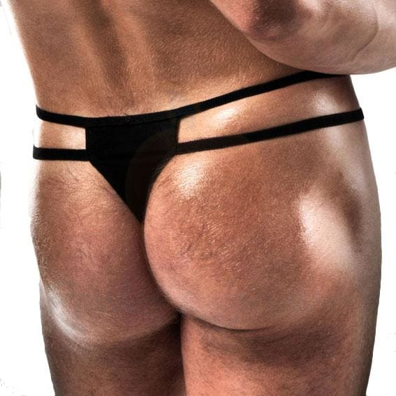 Passion Black Thong with Double Straps for Men - Necronomicox