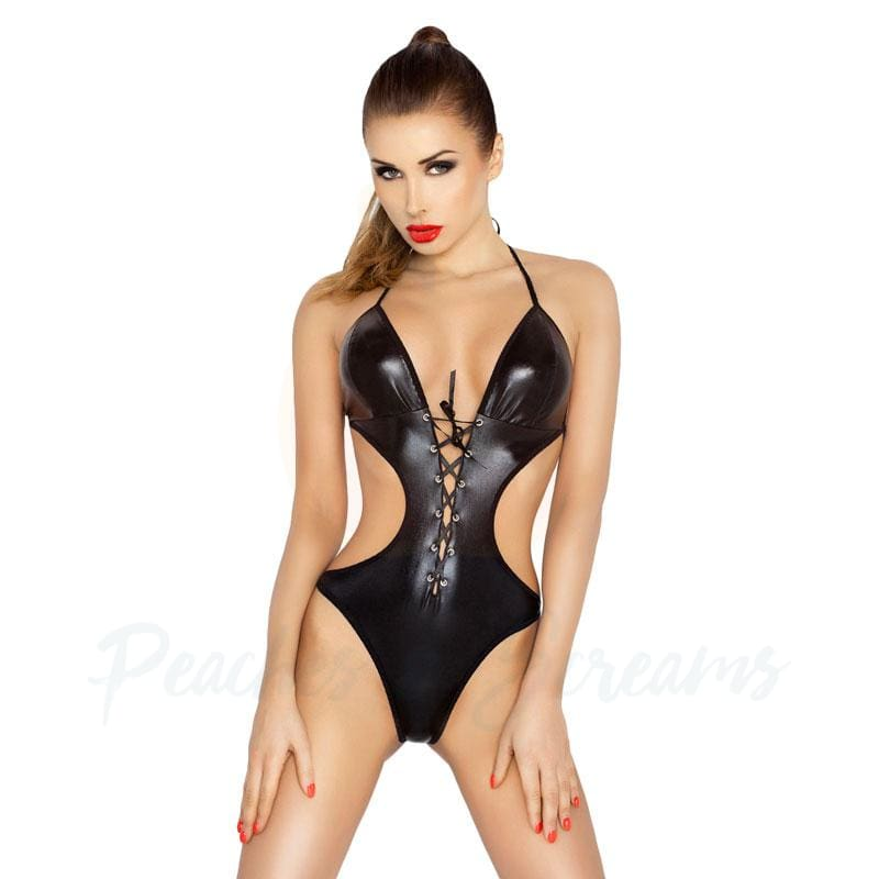 Passion Jean Black Wet-Look Teddy with Lace-Ups and Cut-Outs - Necronomicox