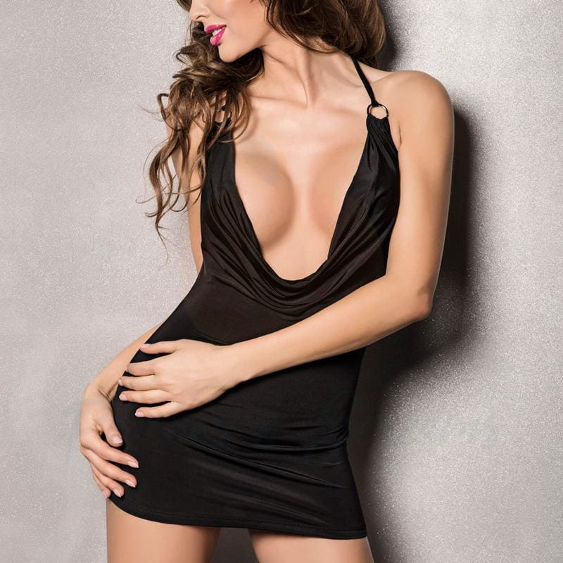 Passion Miracle Black Deep Cowl Chemise with Hoop-Link Halter - Peaches and Screams
