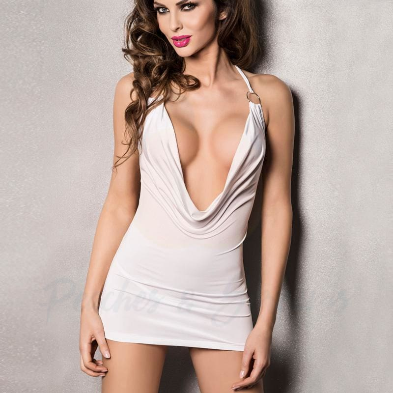 Passion Miracle White Deep Cowl Chemise with Hoop-Link Halter - Peaches and Screams