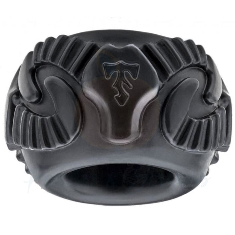 Perfect Fit Black Tribal Son Ram Stretchy Cock Ring - Necronomicox
