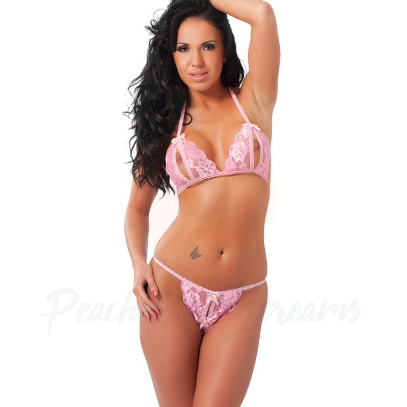 Pink Lace Peekaboo Bra and Crotchless Lingerie Set - Necronomicox