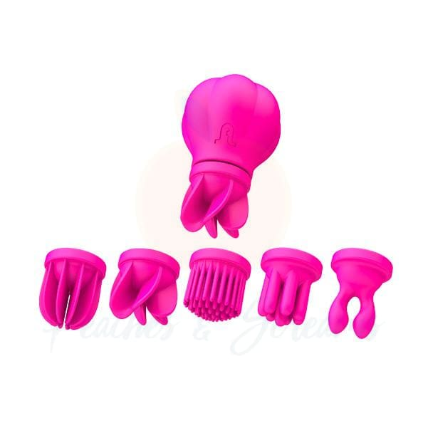Pink Waterproof Clit Stim Kit with 5 Tickler Stimulators - Peaches and Screams
