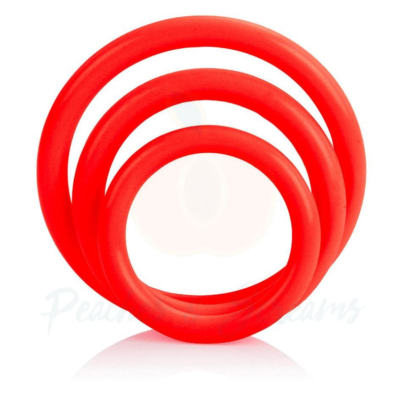 Red 3-Piece Set of Stretchy Rubber Cock Love Rings for Men - Peaches and Screams