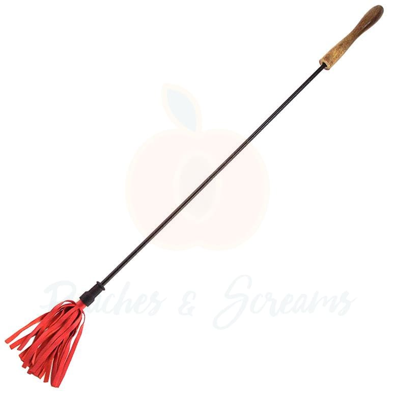 Red Riding Crop with Leather-Wrapped Grip and Wooden Handle - Necronomicox
