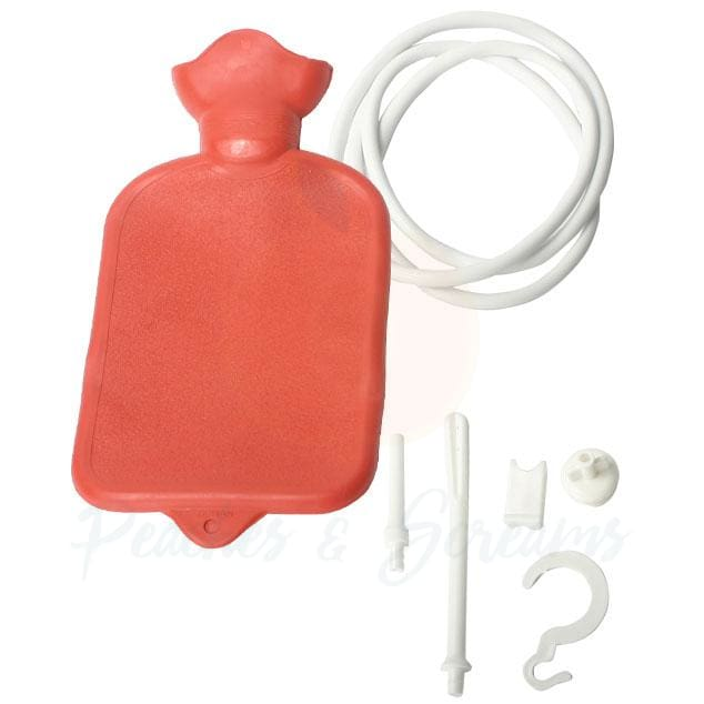 Red Water Bottle Cleansing Kit for Anal and Vaginal Use - Peaches & Screams