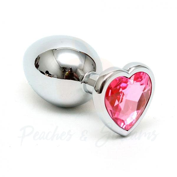 Rimba Beginners Steel Butt Plug with Heart-Shaped Crystal - Peaches and Screams