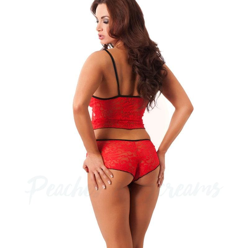 Rimba Matching Red Lace Hot Pants and Crop Top with Lace-Ups - 🍑 Peaches and Screams