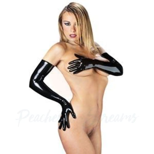 Rimba Rubber Secrets Long Black Latex Gloves - 🍑 Peaches and Screams