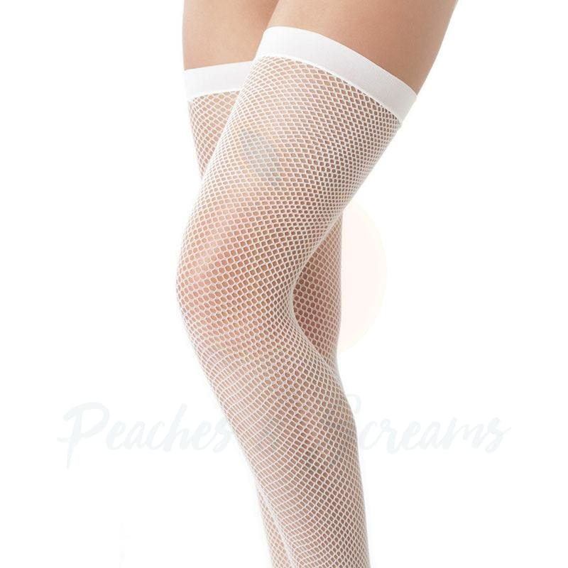 Rimba Sexy White Fine Thigh-High Fishnet Stockings - Necronomicox
