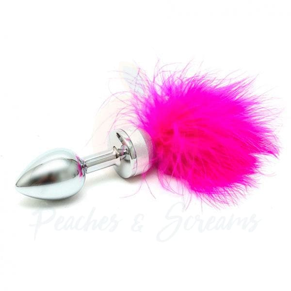 Rimba Small Steel Anal Butt Plug with Pink Feathers - Peaches and Screams