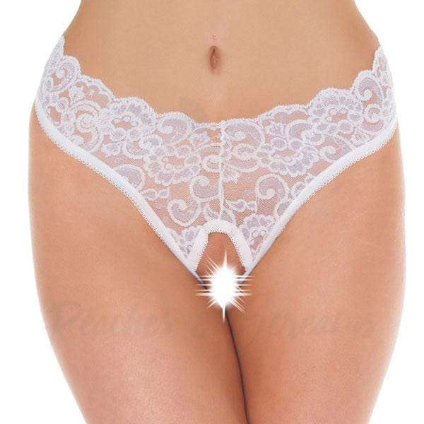 Rimba White Lace Crotchless G-String Thong for Her - Necronomicox