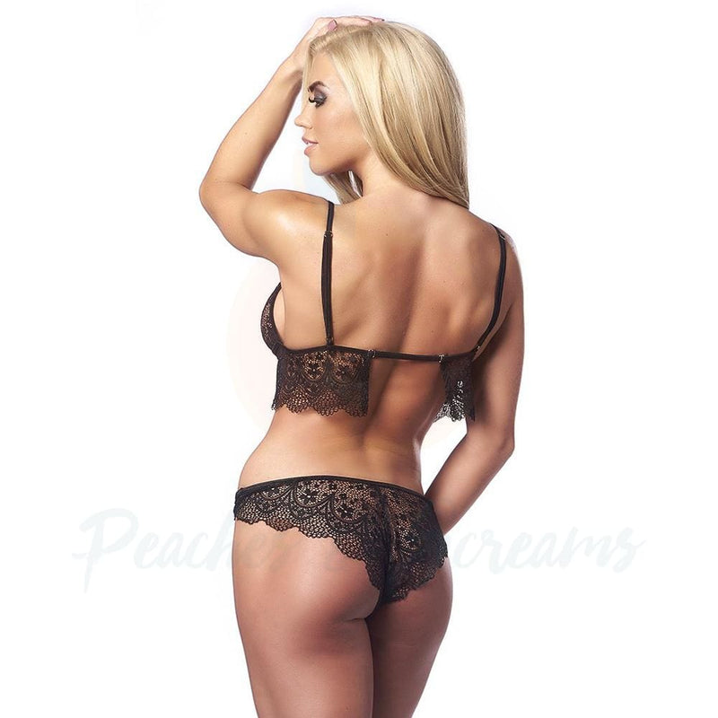 Romantic Black Lace Adjustable Bralette and Brief Set - Peaches & Screams