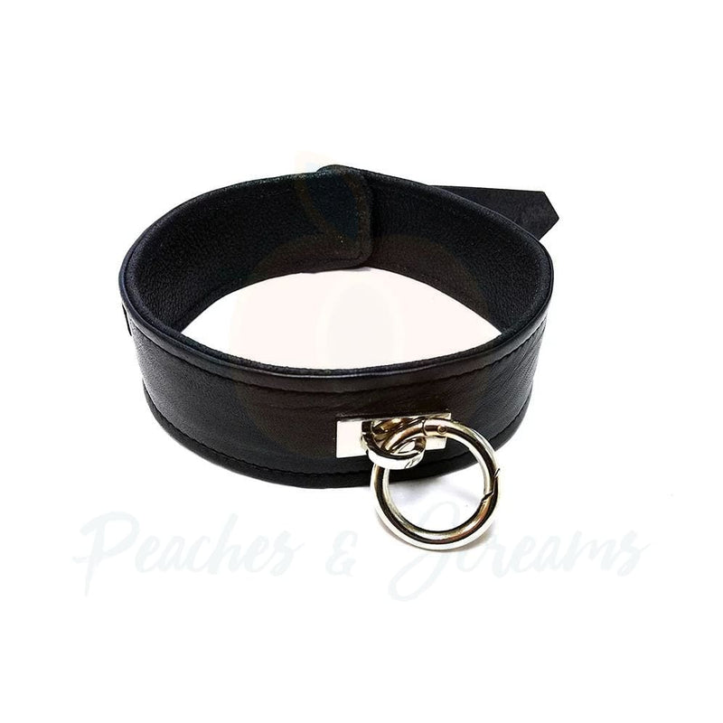 Rouge Garments 50mm Plain Black Leather BDSM Collar - Peaches and Screams
