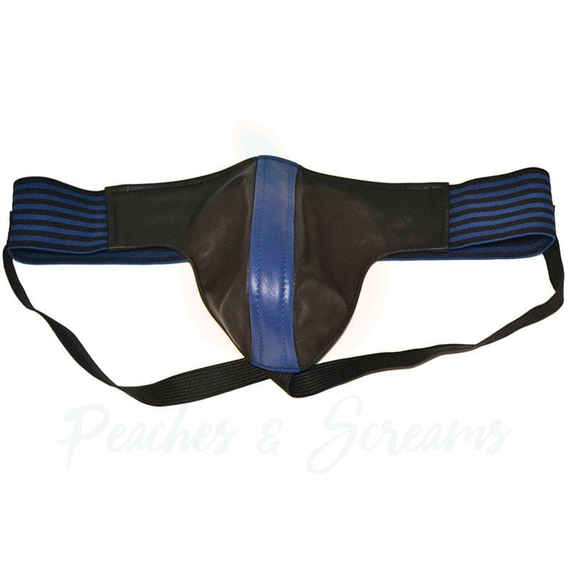 Rouge Garments Black and Blue Leather Jockstrap for Men - Necronomicox