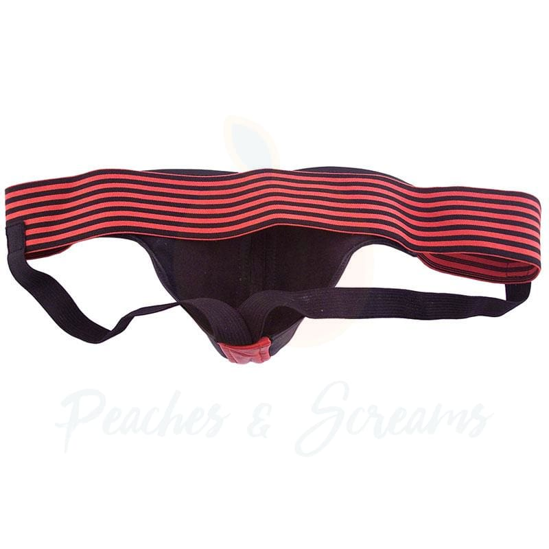 Rouge Garments Black and Red Leather Jockstrap for Men - Necronomicox