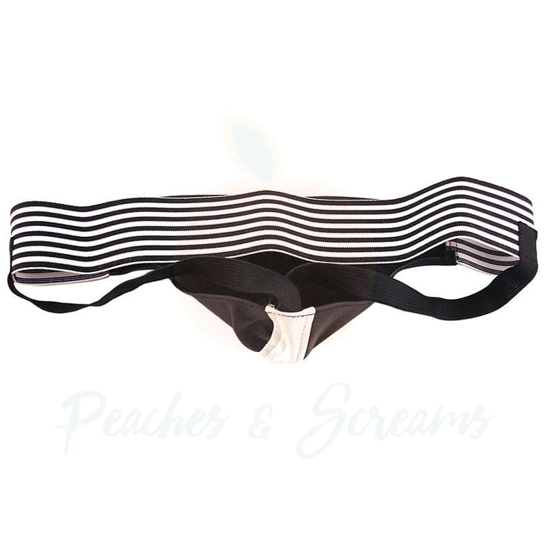 Rouge Garments Black and White Leather Jockstrap for Men - 🍑 Peaches and Screams