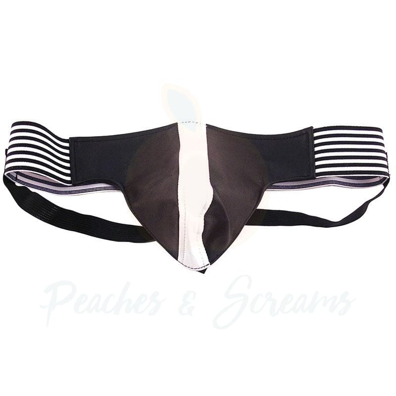 Rouge Garments Black and White Leather Jockstrap for Men - Necronomicox