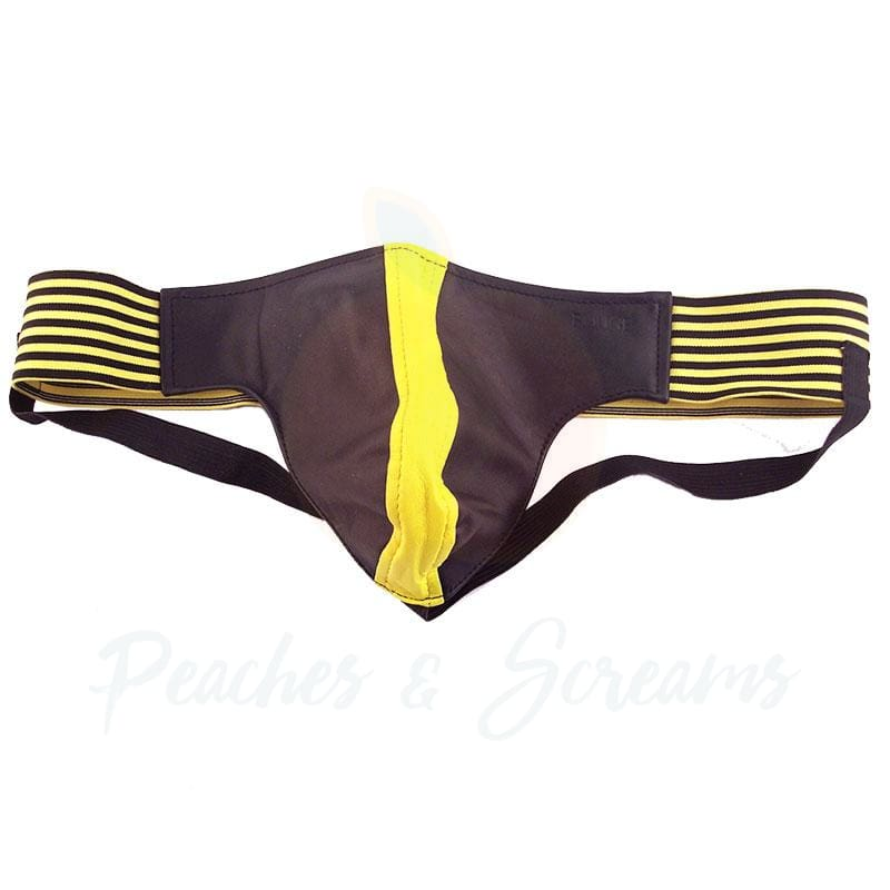Rouge Garments Black and Yellow Leather Jockstrap for Men - Necronomicox