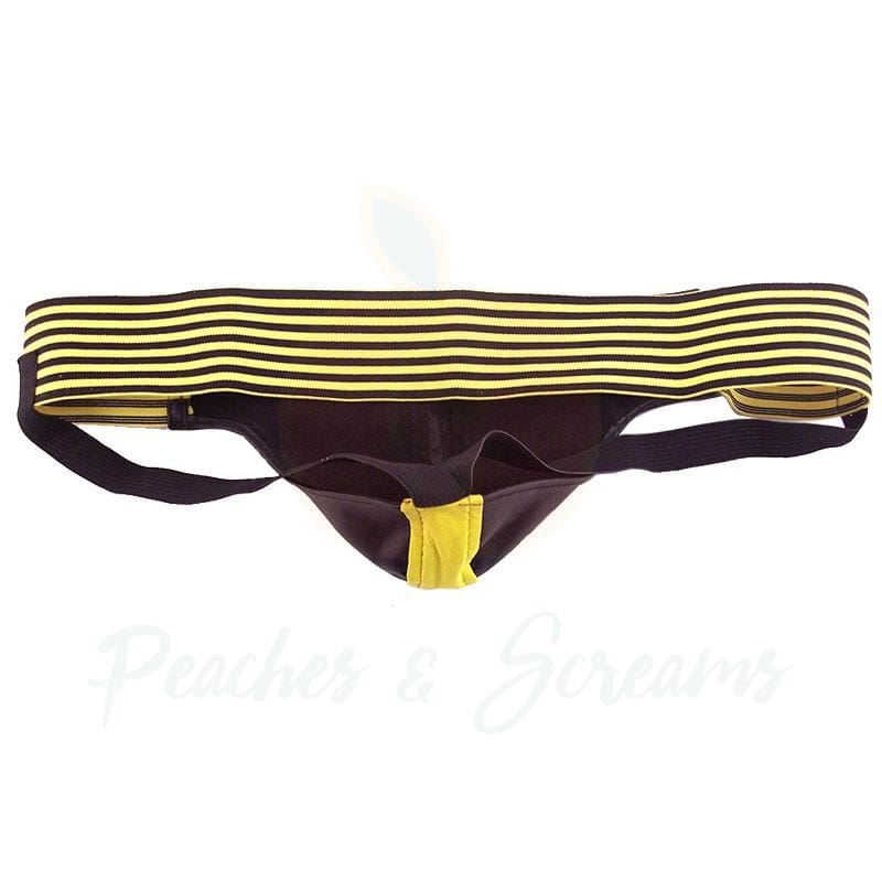 Rouge Garments Black and Yellow Leather Jockstrap for Men - Peaches and Screams