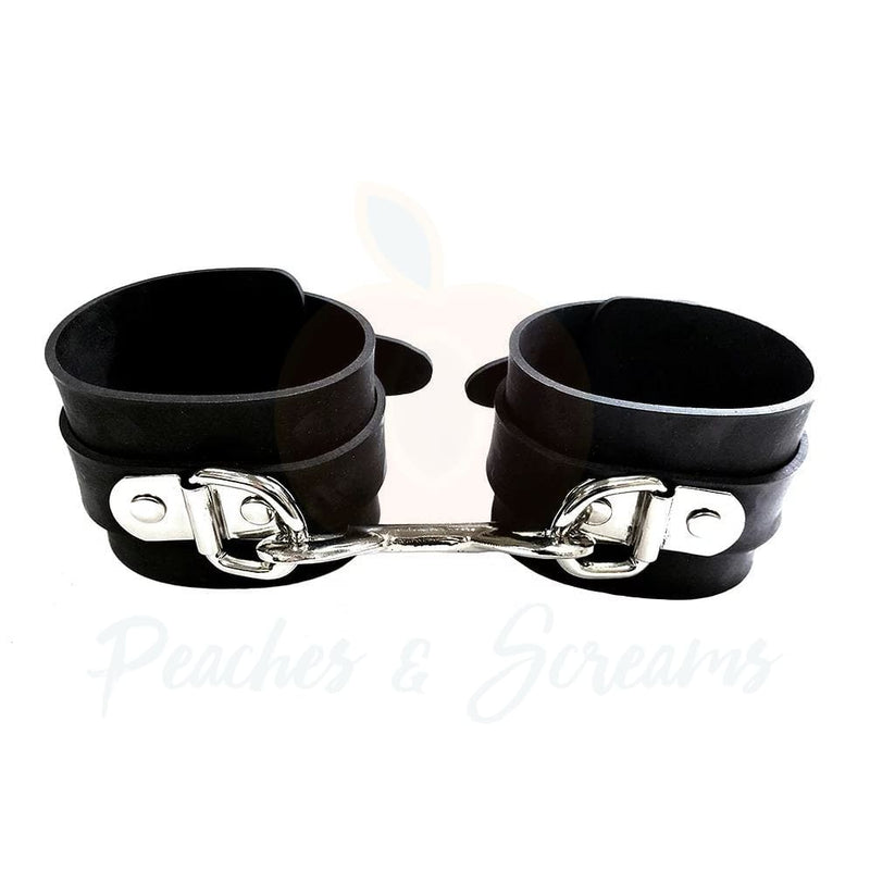 Rouge Garments Black Bondage Rubber Ankle Cuffs Restraints - Necronomicox