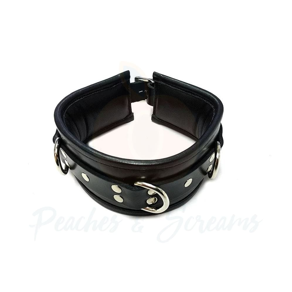 Rouge Garments Black Padded Bondage Collar - 🍑 Peaches and Screams