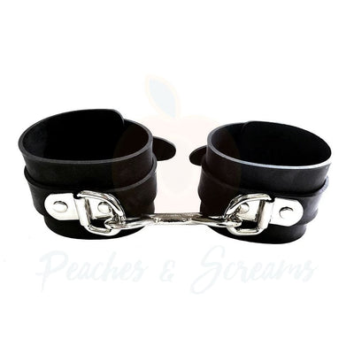 Rouge Garments Black Rubber Bondage Wrist Cuffs BDSM Restraints - Necronomicox