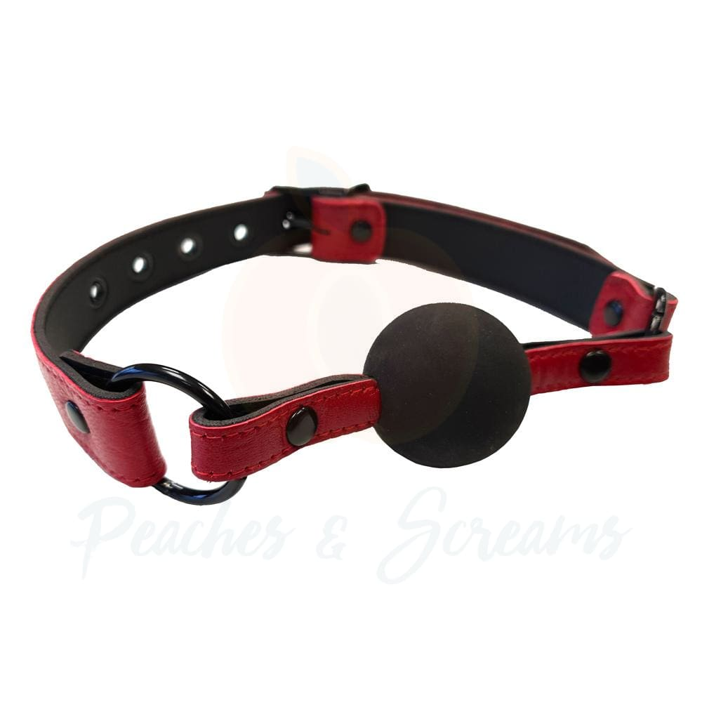 Rouge Garments Leather Ball Gag in Burgundy Snake Print with Black Ball - Necronomicox