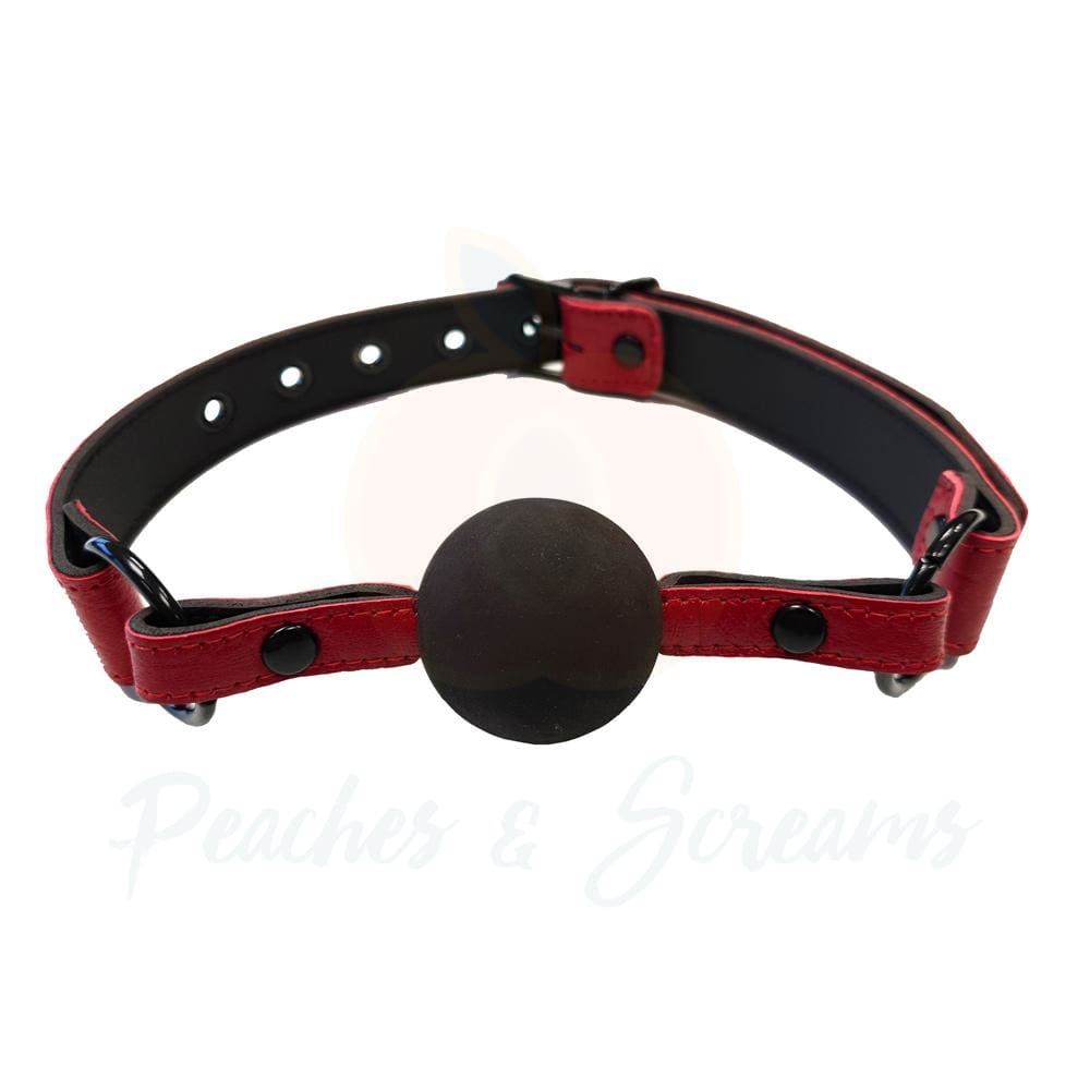 Rouge Garments Leather Ball Gag in Burgundy Snake Print with Black Ball - 🍑 Peaches and Screams