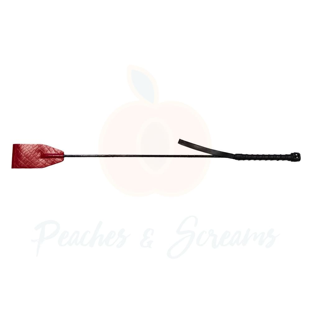 Rouge Garments Leather Riding Crop in Burgundy Snake Print - Necronomicox