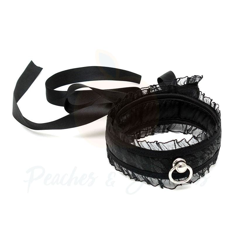 Satin Look Black Sex Bondage Collar with Lace Detail - Necronomicox