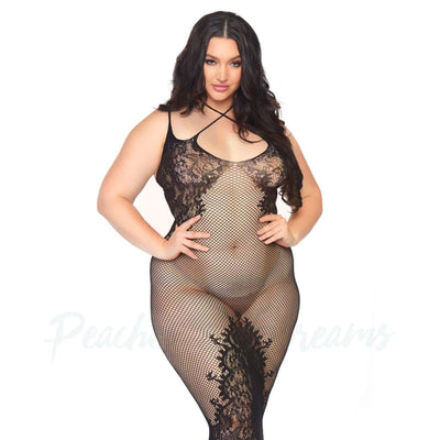 Seamless Fishnet and Lace Dual Strap Halter Dress with Faux Lace-Up Back Plus Size UK 18 to 22 - Peaches and Screams