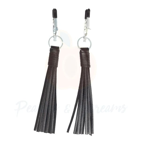 Sexy BDSM Bondage Nipple Clamps with Black Leather Tassels - 🍑 Peaches and Screams