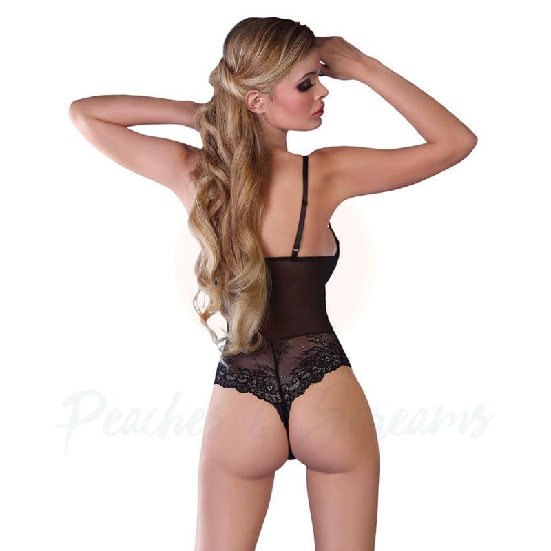Sexy Black and Pink G-String Thong Body Playsuit for Women